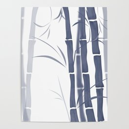 Bamboo . Blue and white . Poster