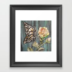 Butterfly on Rose Framed Art Print