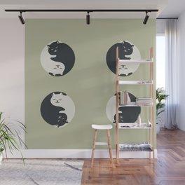 Hidden cat 26 yin yang hug Wall Mural
