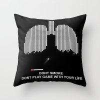 tetris Throw Pillows featuring Smoke Tetris by ArtSchool
