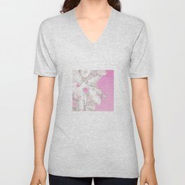 High palms in pink Unisex V-Neck