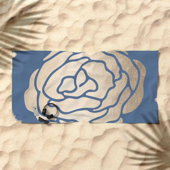 Rose White Gold Sands on Aegean Blue Beach Towel