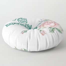Live Life Fully  Pastel Pink Roses Floor Pillow