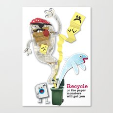 Recycled Paper Monsters Canvas Print