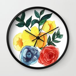 Watercolor Flower Bouquet Wall Clock
