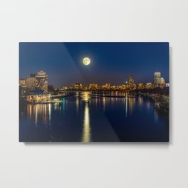 Moon light city of Boston Metal Print