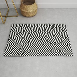 Black white pattern with lines and squares Rug