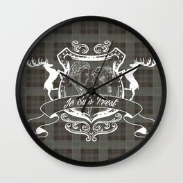 Outlander plaid with Je Suis Prest crest Wall Clock