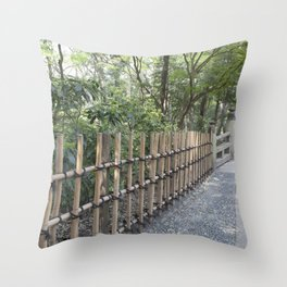 Bamboo Lattice Fence Throw Pillow