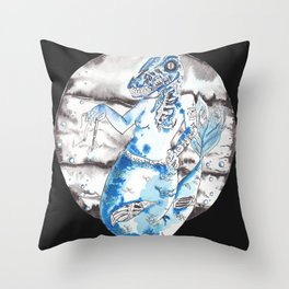 Frankenstien's Mermasaur Throw Pillow