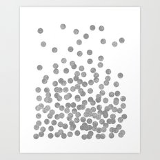 Silver Glitter Drops in bold and cute modern minimal colors for trendy gifts and glitter phone case Art Print