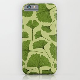 Ginkgo biloba Lino cut nature inspired leaf pattern iPhone 11 case
