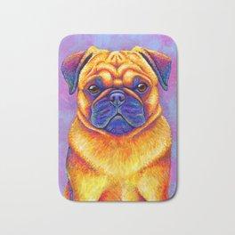 Colorful Rainbow Pug Portrait Bath Mat
