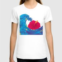 hokusai T-shirts featuring Hokusai Rainbow & Hibiscus_R  by FACTORIE