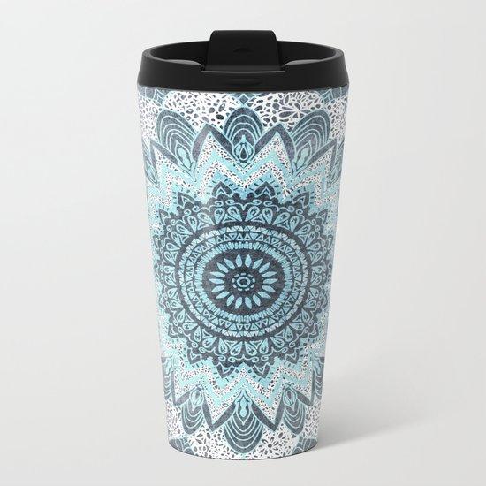 BOHOCHIC MANDALA IN BLUE Metal Travel Mug