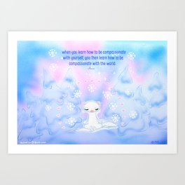 Snow Ferret Art Print