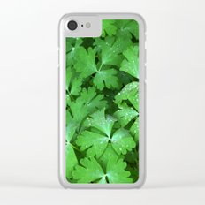 Dewy Leaves Clear iPhone Case