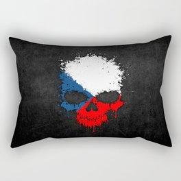 Flag of Czech Republic on a Chaotic Splatter Skull Rectangular Pillow