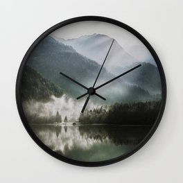 Dreamlike Morning at the Lake - Nature Forest Mountain Photography Wall Clock