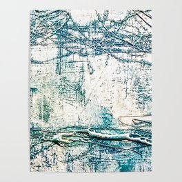 Subtle Blue Textured Acrylic Painting Poster