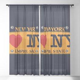 I love NY New York Car Licence Plate Sheer Curtain