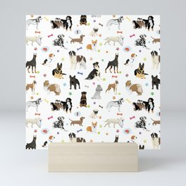 Various Dogs Pattern Mini Art Print