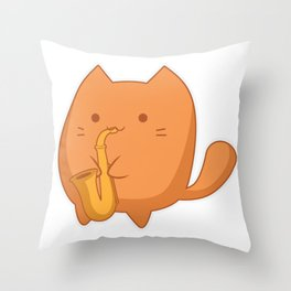 Cat Playing Saxophone Funny Cute Kitty Kittens Saxo Gift design Throw Pillow