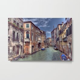 Boats & Gondola down a street canal off the Grand Canal in Venice, Italy Metal Print