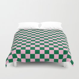 Cotton Candy Pink and Cadmium Green Checkerboard Duvet Cover