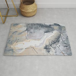 As Restless as the Sea: a minimal abstract painting by Alyssa Hamilton Art Rug