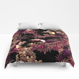 Toucans and Bromeliads - Dark Floral version Comforters