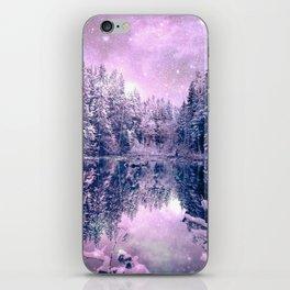Pink Lavender Winter Wonderland : A Cold Winter's Night iPhone Skin