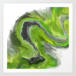 Lime Green Digital Fluid Art Art Print