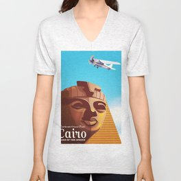 Cairo flight vintage travel poster Unisex V-Neck