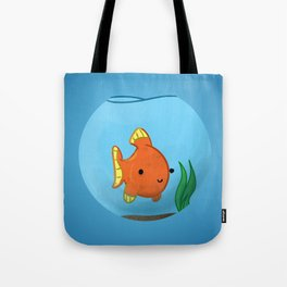 Goldfish in a bowl: Happy! Tote Bag