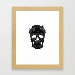 Sketchy Cat skull Framed Art Print