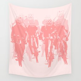 Cyclists in the sprint pink Wall Tapestry