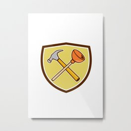 Crossed Hammer Plunger Crest Cartoon  Metal Print