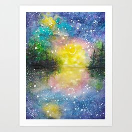 Crescent Moon Reflection Galaxy watercolor by CheyAnne Sexton Art Print