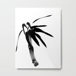 Japanese black & white brush painting - Zen bamboo Metal Print