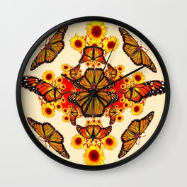 CREAM COLOR YELLOW SUNFLOWERS & MONARCH BUTTERFLY Wall Clock