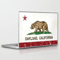 oakland Laptop & iPad Skins featuring Oakland California Republic Flag Distressed  by NorCal