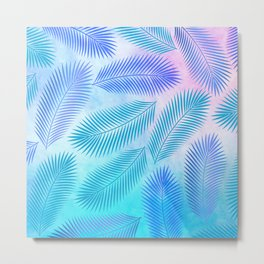 Feathers on Watercolor Background Metal Print