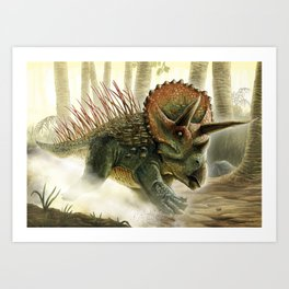 Triceratops Charge! Art Print