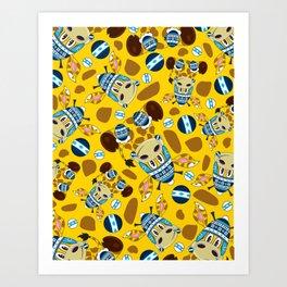 Cute Cartoon Bobble Hat Giraffe Pattern Art Print
