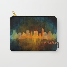 Austin Texas, City Skyline, watercolor  Cityscape Hq v4 Dark Carry-All Pouch