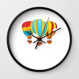 Balloon Aircraft Wicker Basket Gondola Awesome Gift Colorful Hot Air Balloon Wall Clock