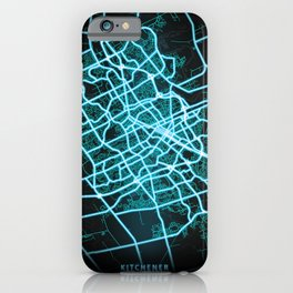 Kitchener, ON, Canada, Blue, White, Neon, Glow, City, Map iPhone Case