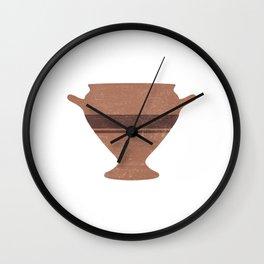 Minimal Abstract Greek Vase 15 - Bell Krater - Terracotta Series - Modern, Contemporary Print Wall Clock