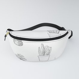 Potted Cactus Pattern Black and White Fanny Pack